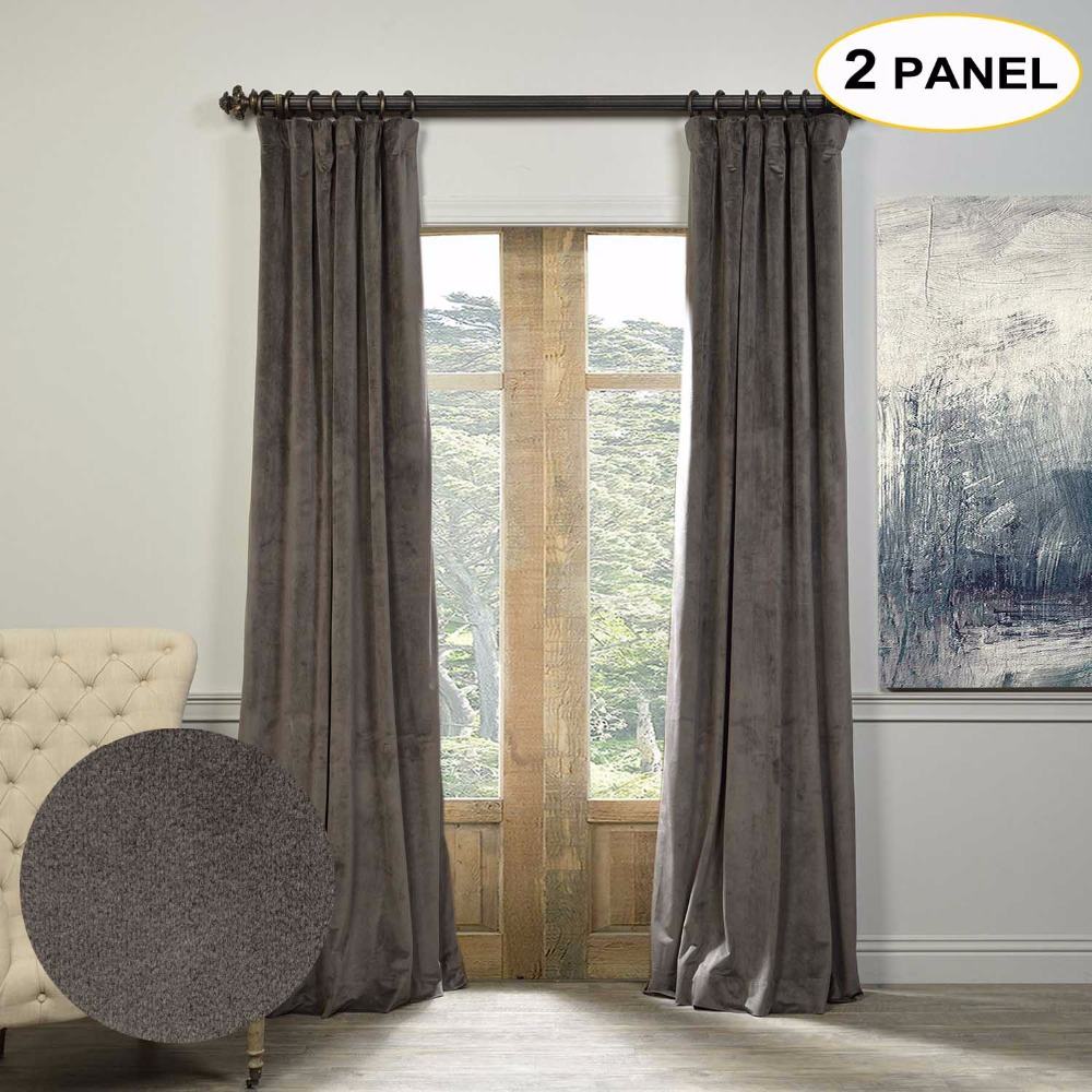 MOMO Velvet Lined 100% Blackout Solid Curtains Thermal