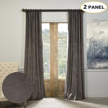 MOMO Velvet Lined 100% Blackout Solid Curtains Thermal Curtain Window Drapes For Bedroom Living Room With Custom Size (2 Panels)