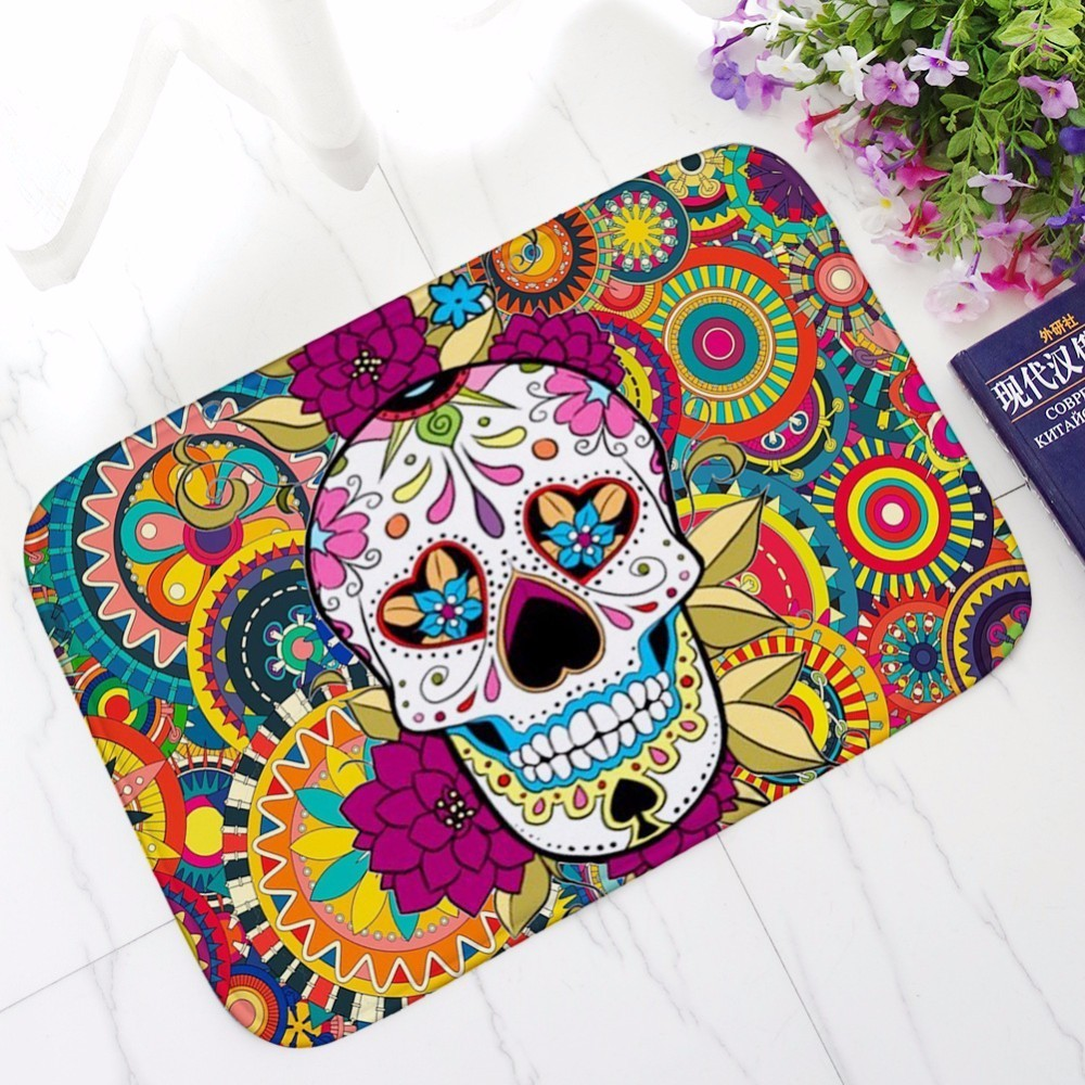 Skull Non-slip Door Mat Kitchen Bathroom Floor Area Rug Carpet Home Doormat