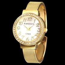 a9a9594d472 Moda pulseira de Ouro Pulseira de Aço Inoxidável Mulheres Relógios de Luxo  Strass Relógio de Pulso