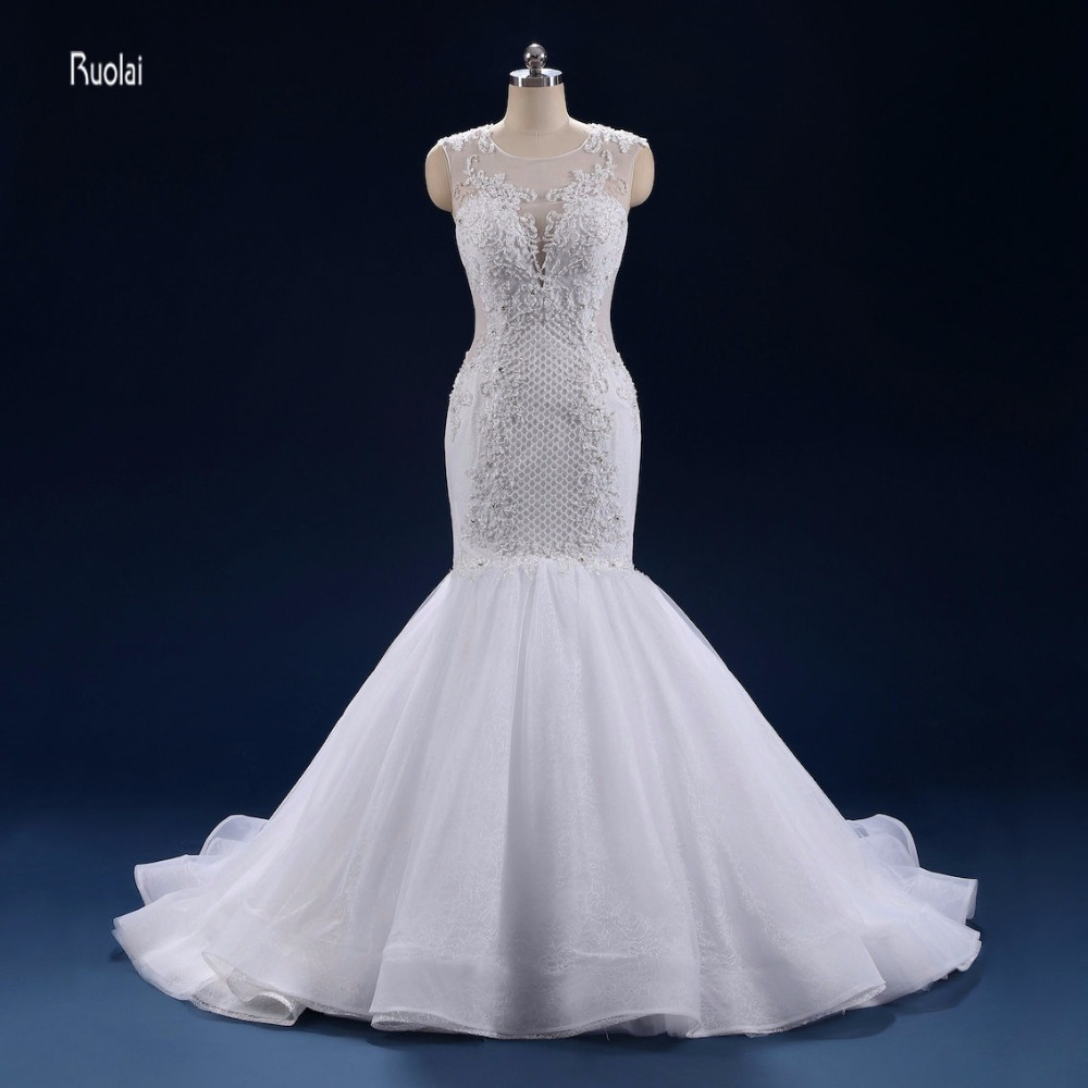 15fafda1ec Lace Mermaid Wedding Dress 2018 Train Beading Appliques Royal ...