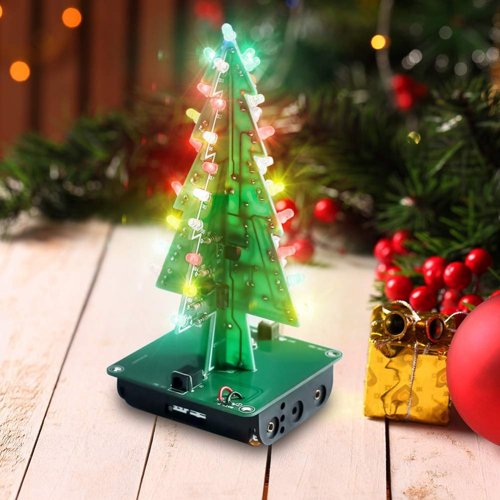 20pcs/pack DIY 3D Xmas Tree Electronic Soldering Assemble Kit 7 Color Flashing LED Science School Project Creative Season Gift