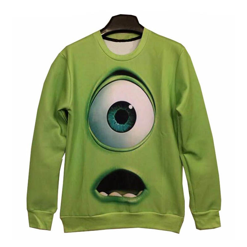 2018 3D Womens Grass Green Long Sleeve Sweatshirt Fun Eye Pattern Retro Pullover Youth Pop / Hot Lady Specials Tops