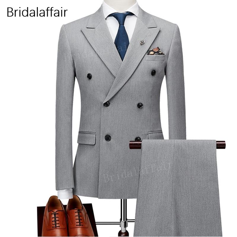 KUSON Groomsmen Men Suits Wedding Grey Solid Color Tuxedos