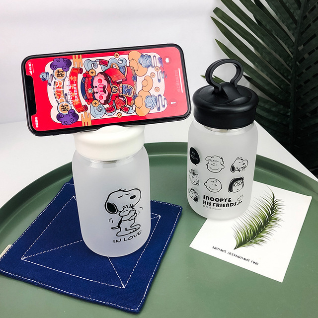 Cartoon Glass Water Bottle with Tea Infuser 1