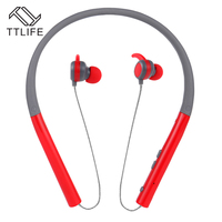 TTLIFE Portable Bluetooth 4 1 Earphone Neckband Noise Isolation Headset Deep Bass With Mic For IPhone