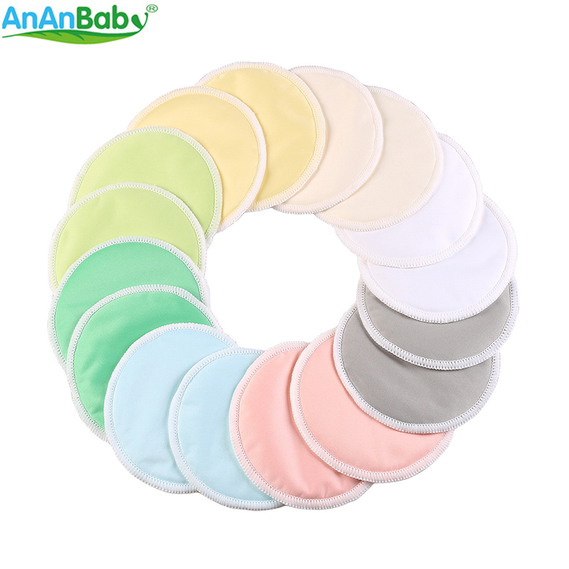 Ananbaby 10PCS Bamboo Nursing Pads With A Wet Bag For Mum Reusable Washable Feeding Pad Absorbency Waterproof Breast Pads