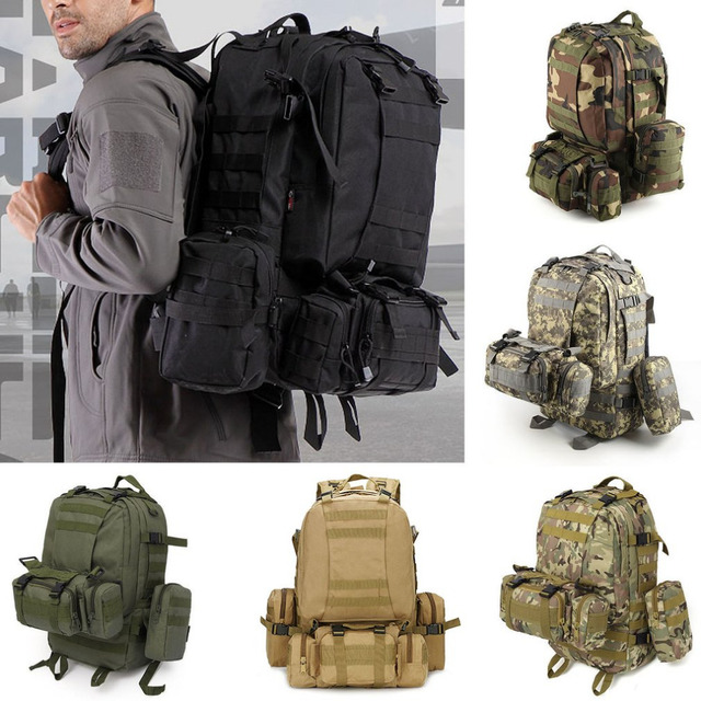 79fd7b3f4332 Outlife 50L Outdoor Backpack Molle Military Tactical Backpack Rucksack  Sports Bag Waterproof Camping Hiking Backpack For Travel