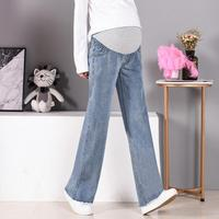 Pregnant women broad legged denim pants 2019 spring maternity flare trousers loose large sized straight bell bracket jeans Y641