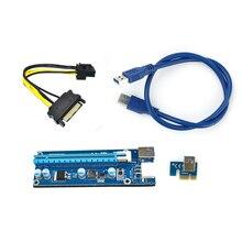 60 cm USB3.0 PCIe PCI-E Expresso 1x A 16x Extensor de Riser PCIE Adaptador de cartão com SATA 15pin para 6pin cabo de alimentação para a Mineração Bitcoin