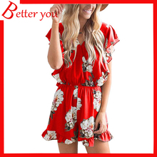 2019 summer hot sale Womens casual red gray color fresh loose print high waist floral rompers women jumpsuit