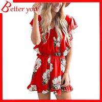 2019 summer hot sale Women's casual red gray color fresh loose print high waist floral rompers women jumpsuit