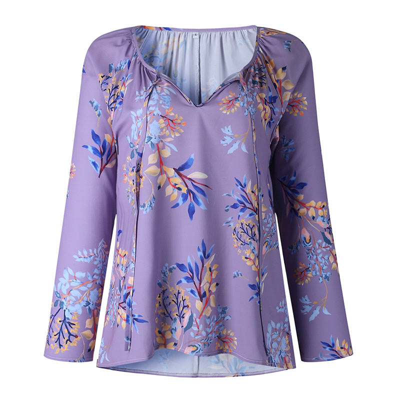 Autumn Casual Shirt Women Clothes Streetwear Fashion Print Drawstring V-Neck Long Sleeve Sexy Ladies Tops Vetement Femme 2018 (8)