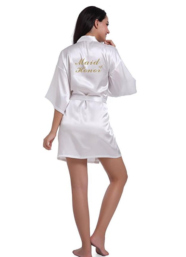 RB85 Maid Of Honor Letter Golden Glitter Print Kimono Robes Faux Silk Women Bachelorette Wedding Preparewear Bridal Party Robe