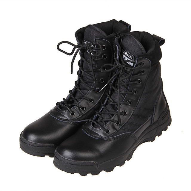 55ecf46376e9af High Quality Army Men's Tactical Boots New Fashion Sport Outdoor Hiking  Lace Up Leather Ankle Boots