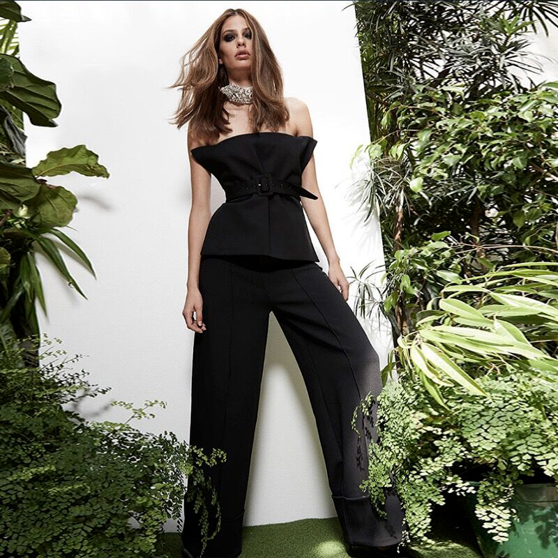 High Quality Sexy Women Strapless Black  Rayon Bandage Full Length Jumpsuit Evening Party Elegant Jumpsuit