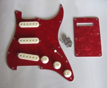 KAISH ST  SSS Pickguard Red Pearl w/ Parchment Pickup Covers,Knobs,Switch Tip
