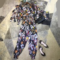 Women fashion sexy bodysuit jumpsuit brand hearts patterns print chiffon overalls with cute bow new arrival 2018 spring black