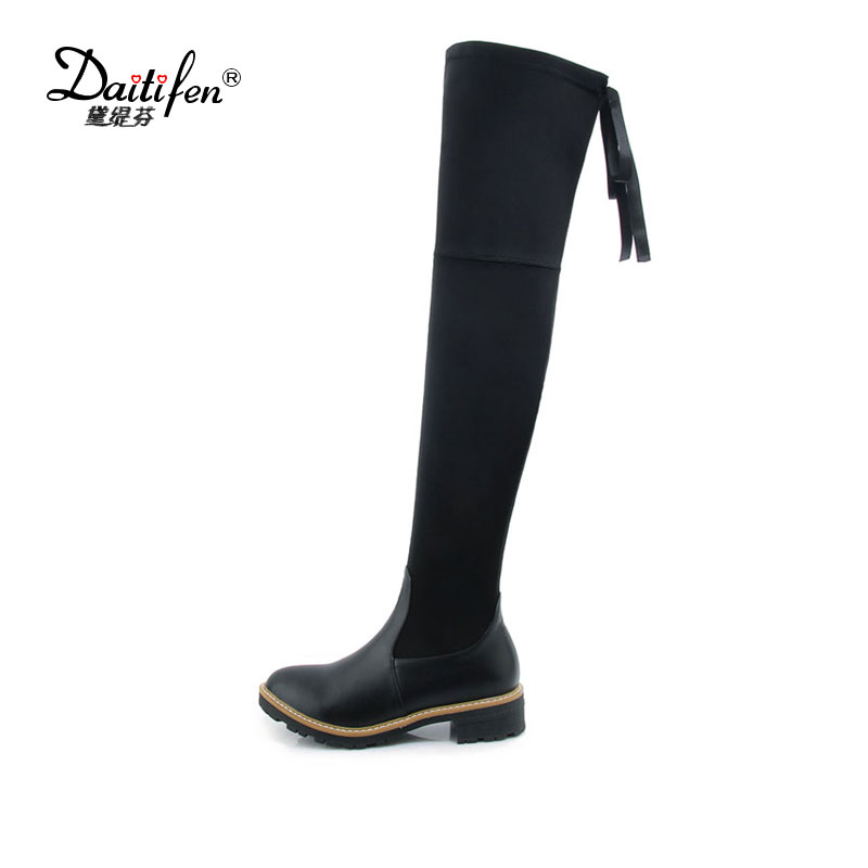 Daitifen New Women Winter Boots Stretch Slim Over Knee Boots Mix color Thigh High Boots Shoes Woman Round Toe Winter Boots women socks boots stretch slim winter over knee boots black thigh high boots elastic shoes woman round toe snow boots fs 0153