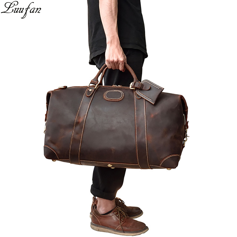 Men Thick Crazy horse leather travel bag 20 Cow leather duffel travel bag vintage genuine leather
