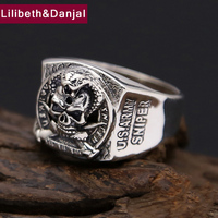 Thailand Vintage Ring 100% Real 925 sterling Thai silver Skull Engagment Joint Ring Men jewelry New Arrival FR8