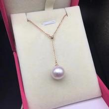 8 9mm Akoya perlas 18 k oro multifuncional colgante collar perlas de alto brillo joyería fina para mujeres señoras madre regalo de