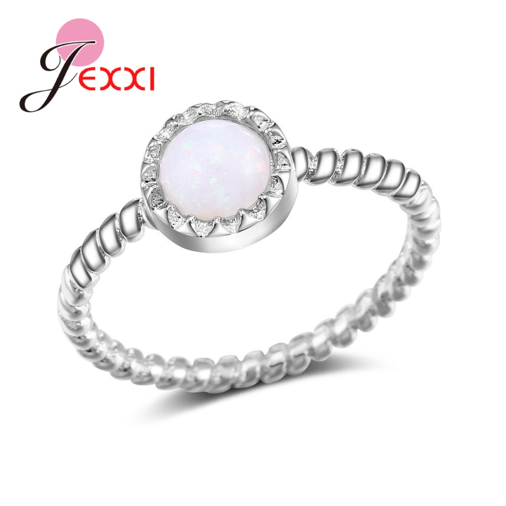 JEXXI Special Rope Shape Circle Pattern White Round Opal Rings For Women Female Real 925 Sterling Silver Crystal Design Gifts