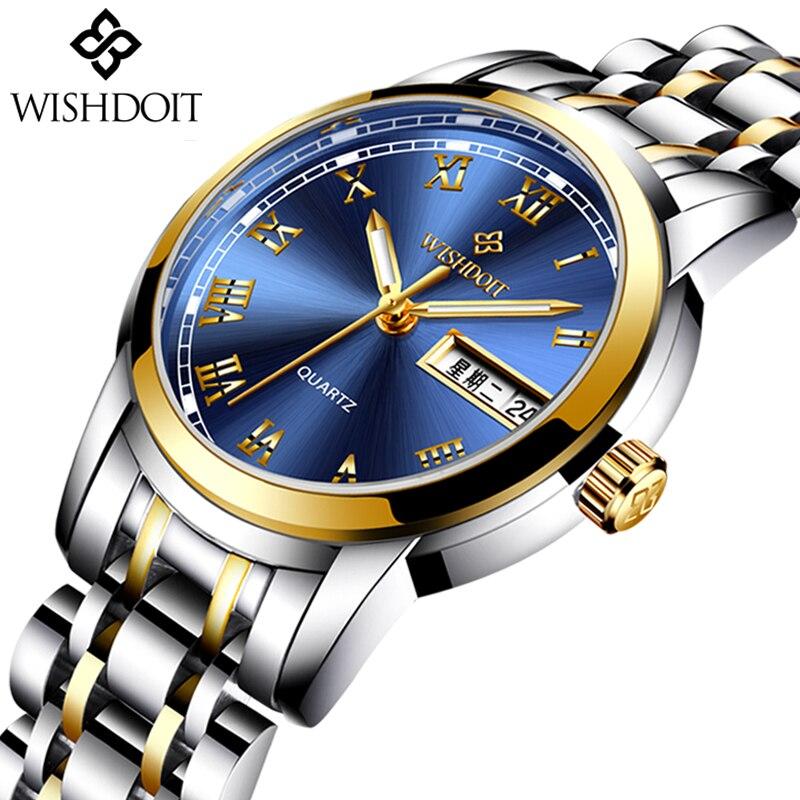 WISHDOIT quartz pour mode décontractée montres en acier inoxydable femmes Montre étanche horloge Zegarek Damski Montre Femme Relogio Feminino