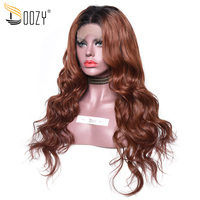Doozy 250% Density Peruvian Hair Lace Wig Ombre Color 1b/33 Auburn Brown Remy Body Wave Lace Front Human Hair Wigs