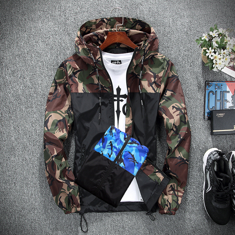 HTB1oqSXebZnBKNjSZFhq6A.oXXan 2019 Men's wear casual camouflage jacket. of Slim handsome spring autumn casual solid color large size baseball clothes
