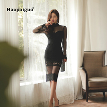 Black Sexy Party Lace Dress Women Stand Long Sleeve Split Wrap Autumn 2018 Solid Backless Perspective Bandag Bodycon