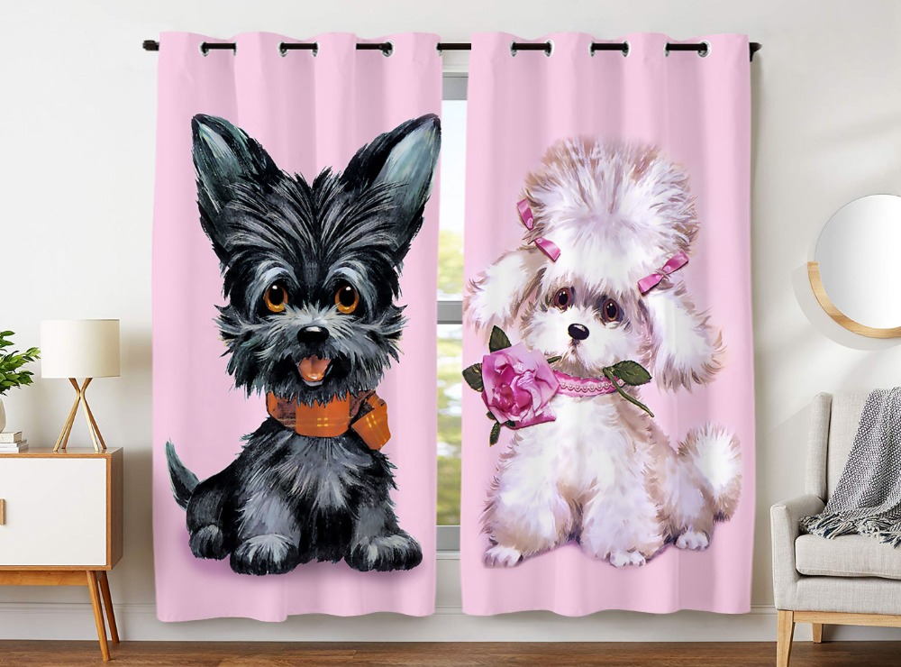 HommomH Curtains 2 Panel Grommet Top Darkening Blackout Room Funny Dog Couple Rose Pink