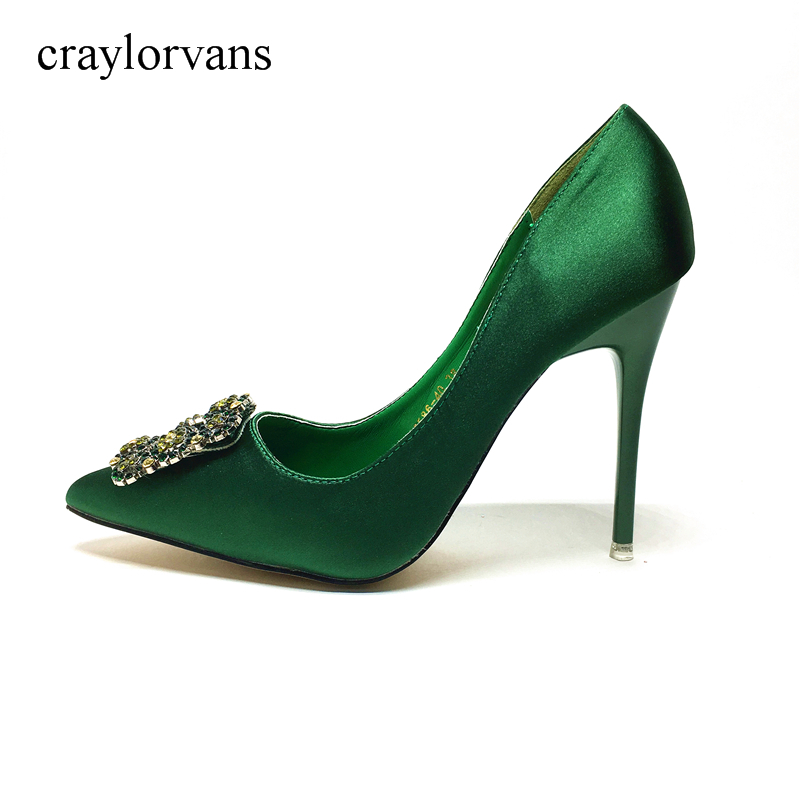2017 Green High Heels Shoes Crystal Wedding Shoes For Women Heel Shoes Woman High Heels Luxury Designer Shoes Pumps luxury brand crystal patent leather sandals women high heels thick heel women shoes with heels wedding shoes ladies silver pumps