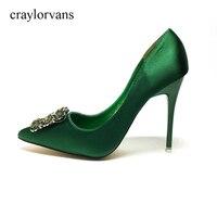 2017 Green High Heels Shoes Crystal Wedding Shoes For Women Heel Shoes Woman High Heels Luxury