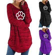 Новинка, модная женская футболка с принтом кота, собаки, лапы, животных, круглый вырез, неровный, длинный рукав, женская рубашка Harajuku размера плюс