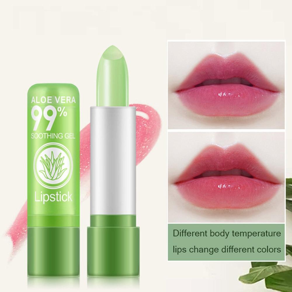 Pure Natural Aloe Vera Lipstick Color Mood Changing Long Lasting Moisturizing Lip Cream Balm Moisture Waterproof Beauty Tools