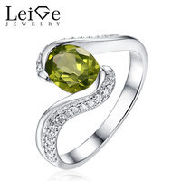 Leige Jewelry Green Peridot Ring 925 Silver Wedding Rings for Women Natural Gemstone Oval Cut Bezel Setting Christmas Gift