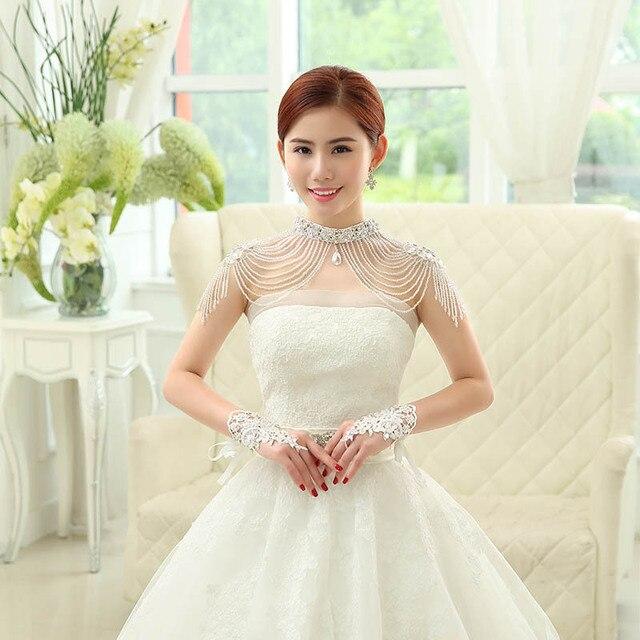 2016 Nova Moda Beading Casamento Ctystal Apliques Casaco Bolero Jaqueta de Casamento de Casamento Da Noiva Envoltório de Casamento acessórios