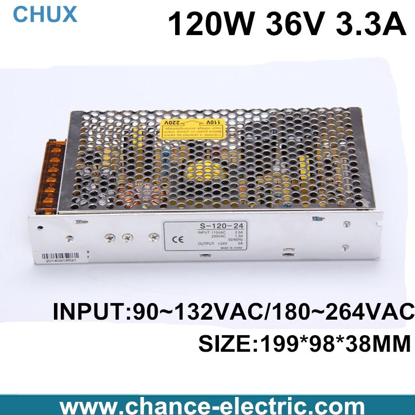 DC 36V 3.3A Switch power supply 120W LED power adapter for LED light  (s-120w-36v)  Free shipping 4pcs 12v 1a cctv system power dc switch power supply adapter for cctv system