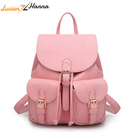 Fashionable Shoulder School Bags for Teenage Girls College Backpacks Pink Waterproof Cute PU Leather Top handle Women Bag Solid