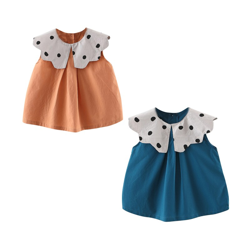 Summer Casual Baby Girls Polka Dot Print Dress Cotton Kids Toddler Sleeveless Sundress in Clothing Sets from Mother Kids