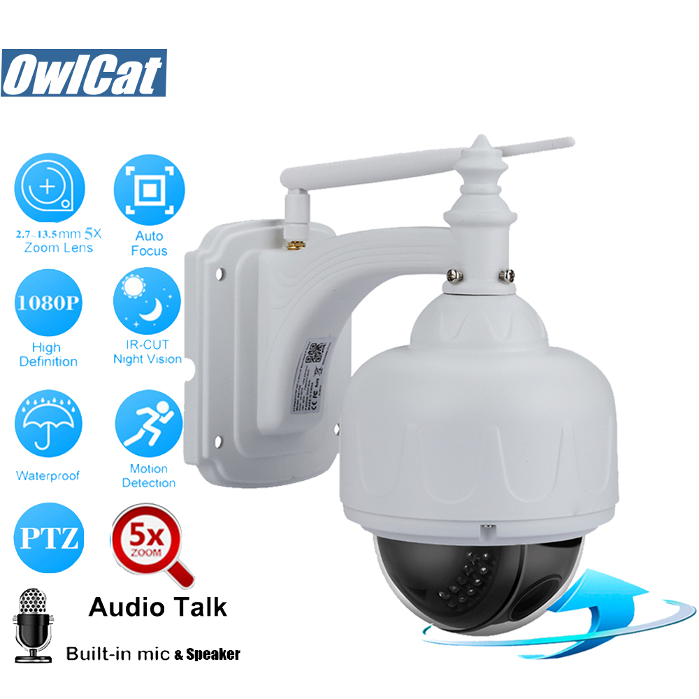 OwlCat 1080P Outdoor/Waterproof Wireless PTZ IP Camera Wifi 5X Optical Zoom 2.7-13.5mm Audio SD Slot 2.0MP CCTV Security CameraOwlCat 1080P Outdoor/Waterproof Wireless PTZ IP Camera Wifi 5X Optical Zoom 2.7-13.5mm Audio SD Slot 2.0MP CCTV Security Camera