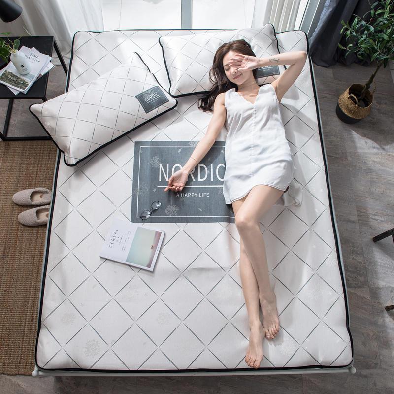 Summer Ice Cool Mat Bedding Set White Lattice Pattern 3pcs Flat Bed Sheet Pillowcase Set Comfortable