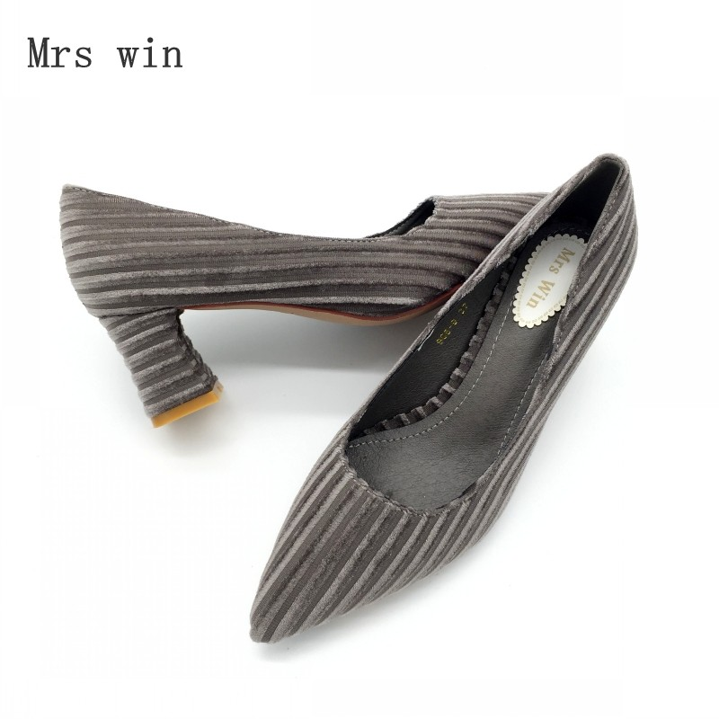 Shoes Women Pumps Spring Autumn Fashion High Heel Slip-On Stripe Female Shoes Ladies Footwear Single Shoes Zapatos Mujer Black summer style flat shoes women fashion slip on flats fashion pointed toe footwear ladies cross strap zapatos mujer size 35 39