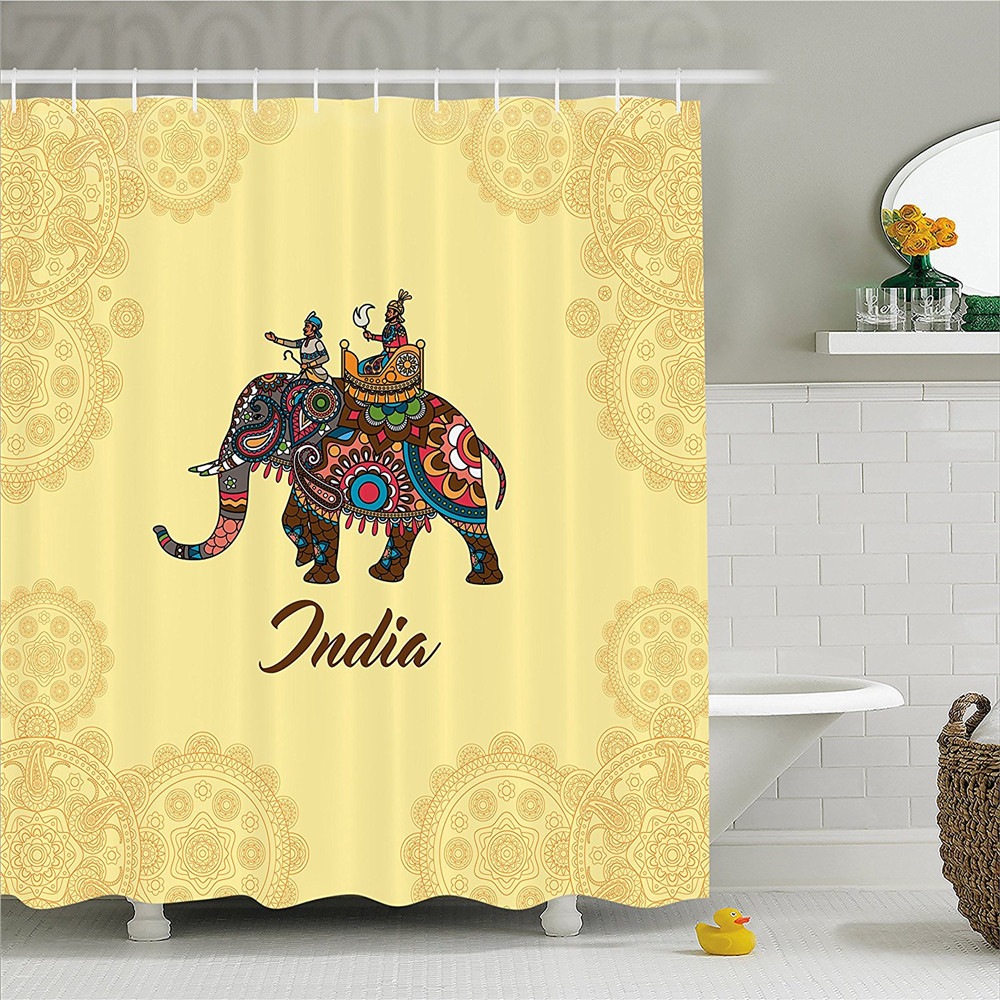 Indian Home Decor Ideas That Reflect Indian Culture: Mandala Decor Shower Curtain East Indian Maharaja On Elephant With Round Universe Signs Cultural