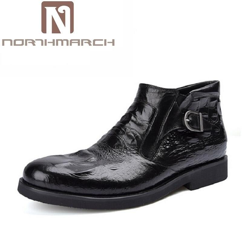 NORTHMARCH 2017 Men Ankle Boots Crocodile Pattern Leather Men Boots Outdoor Men Chelsea Boots Fashion Men Winter bota Shoes цены онлайн