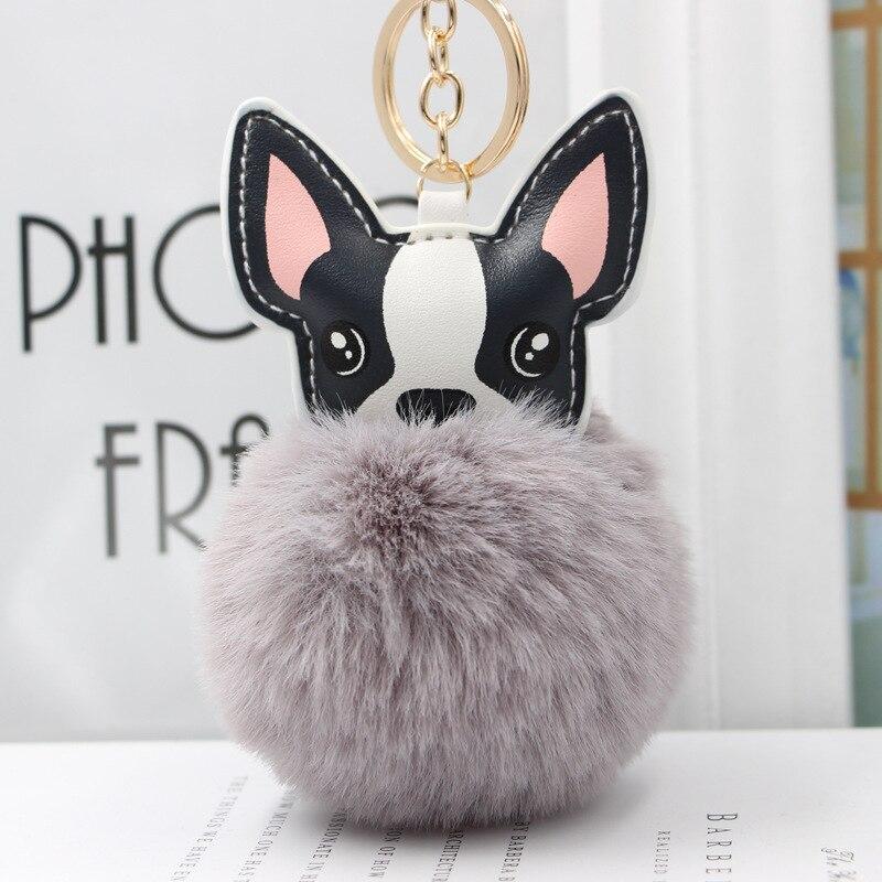 Fluffy Rabbit Fur Ball French Bulldog Keychain Pompom Key Chain Pu Leather Animal Dog Keyring Holder Bag Charm Trinket