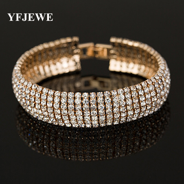 Yfjewe Factory Price Gold And Silver Color Clic Crystal Pave Link Bracelet Bangle Fashion Full Rhinestone