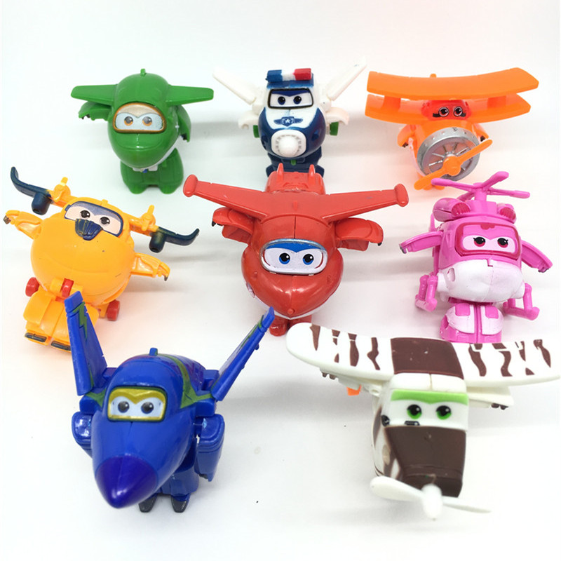 8pc/lot Super Wings Mini Airplane ABS Robot toys Action Figures Super Wing Animation Children Kids Gift have stock