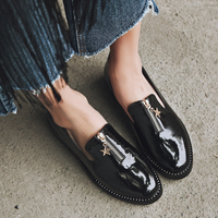 British Style Women Shoes Flats Fashion Crystal Metal Star Zip Brogue Shoes Spring Autumn Pointed Toe